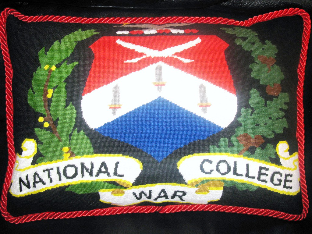 National War College Crest Needlepoint Pillow