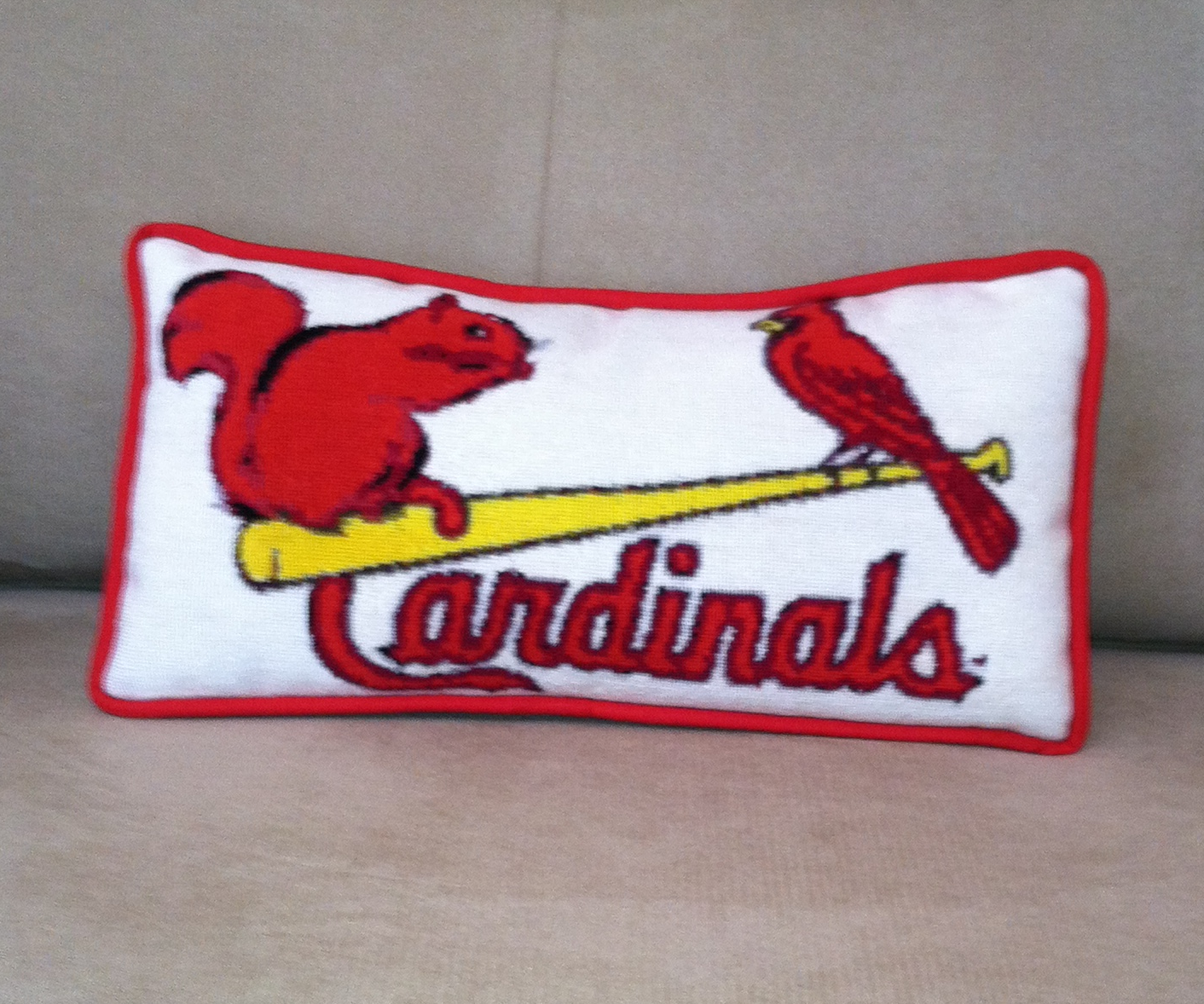 cardinals needlepoint pillow