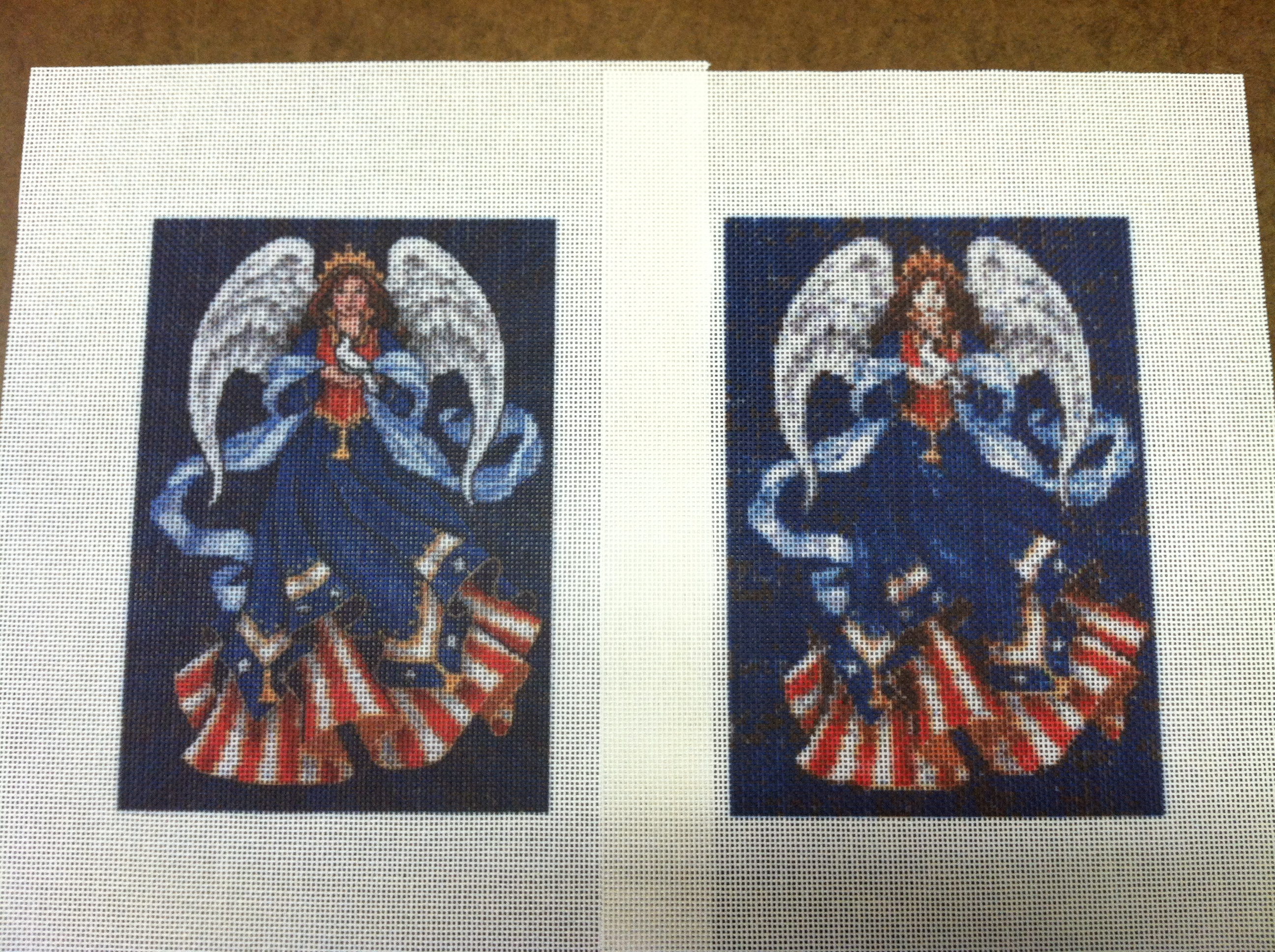 photo needlepoint on left vs stitch counted needlepoint on right