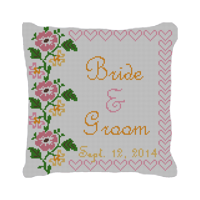 Flowers and Hearts Custom Needlepoint Pillow