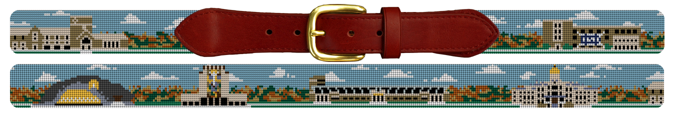 Custom College Campus Needlepoint Belt Notre Dame