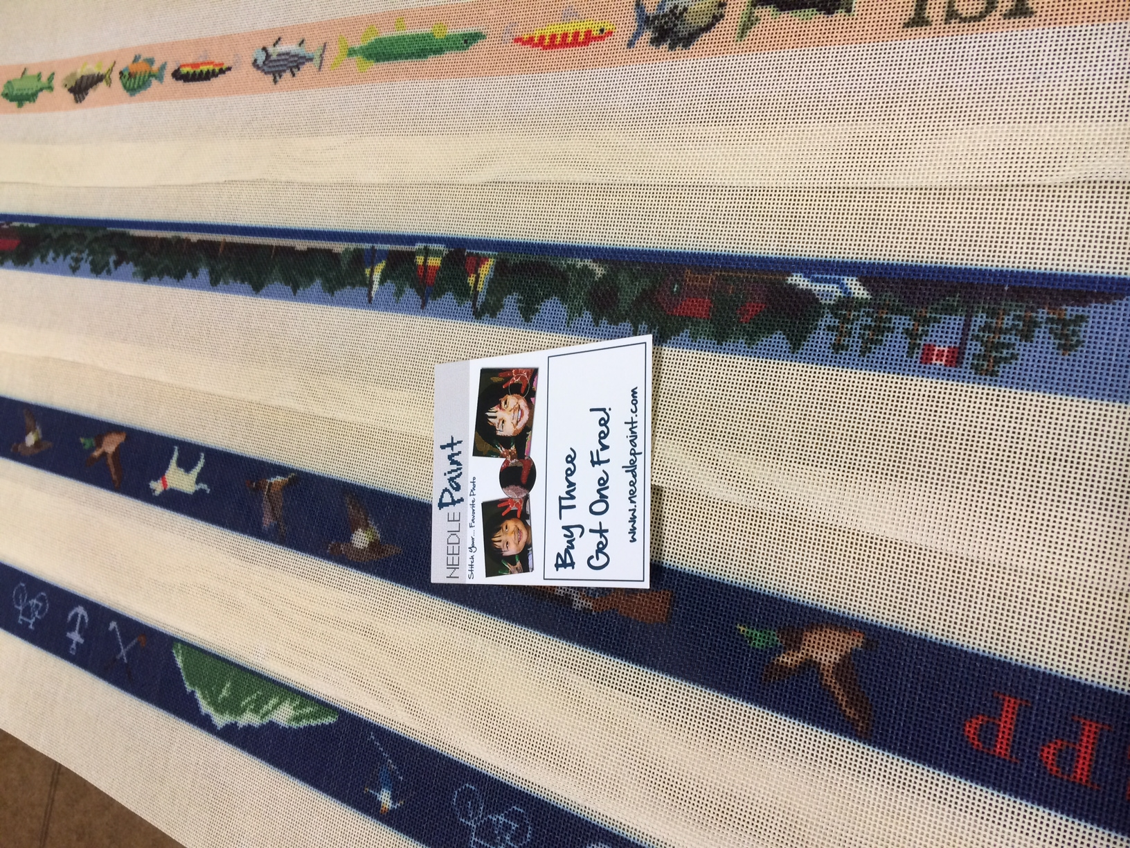 Fishing Cabin Mountain and Hunting Needlepoint Belt Designs