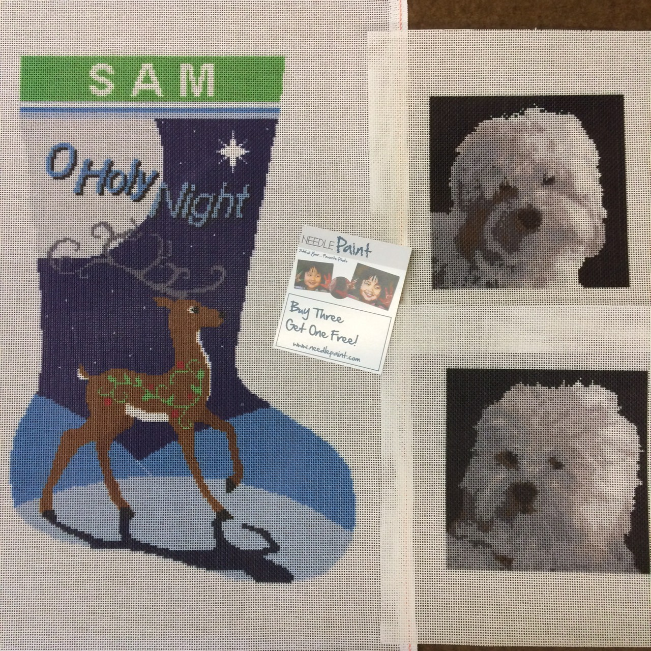 Reindeer Stocking and Custom Dog Needlepoint Canvases