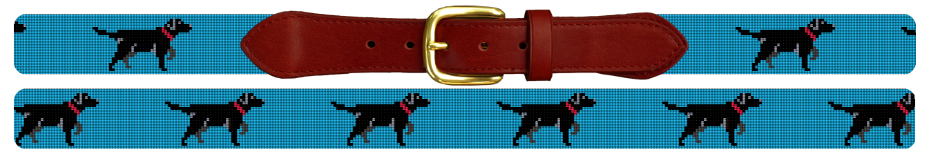 Black Lab Needlepoint Belt