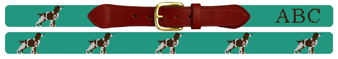 English Springer Spaniel Needlepoint Belt