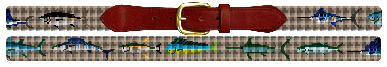Gamefish Needlepoint Belt in Taupe