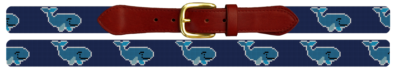 Preppy Whale Needlepoint Belt