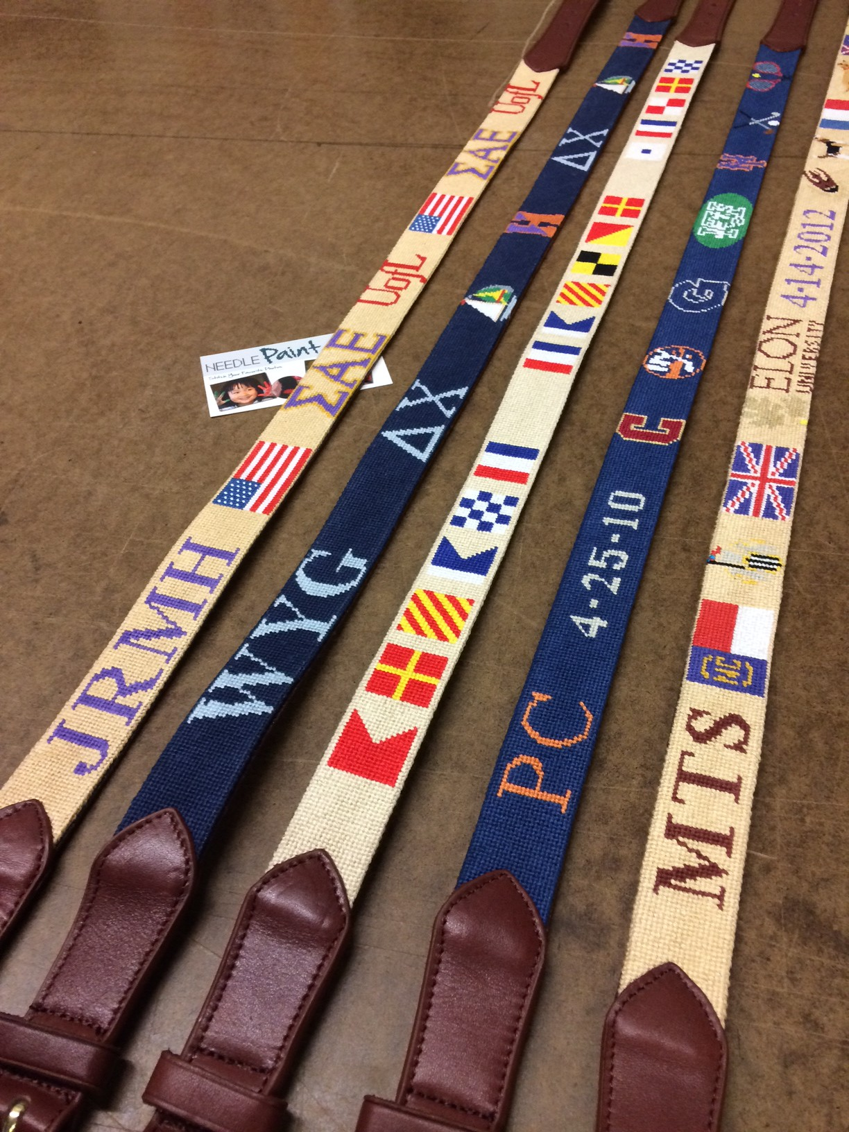 Five Custom Needlepoint Belts