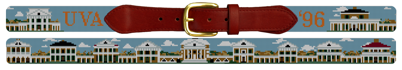 UVA University of Virginia Acedemical Village Needlepoint Belt
