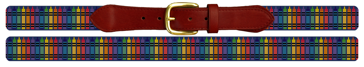 Colorful Crayon Needlepoint Belt