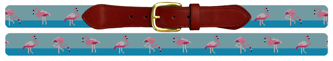 Flamingo Needlepoint Belt
