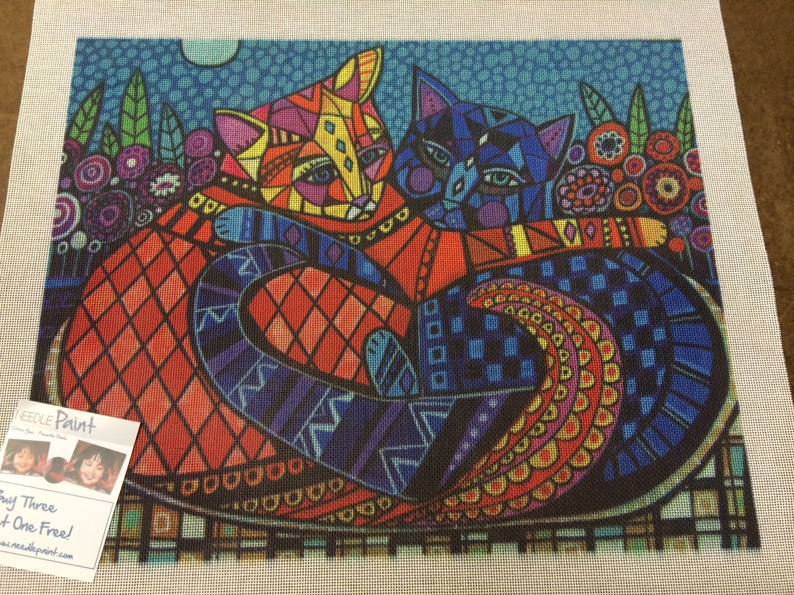 Two Cats Art Needlepoint