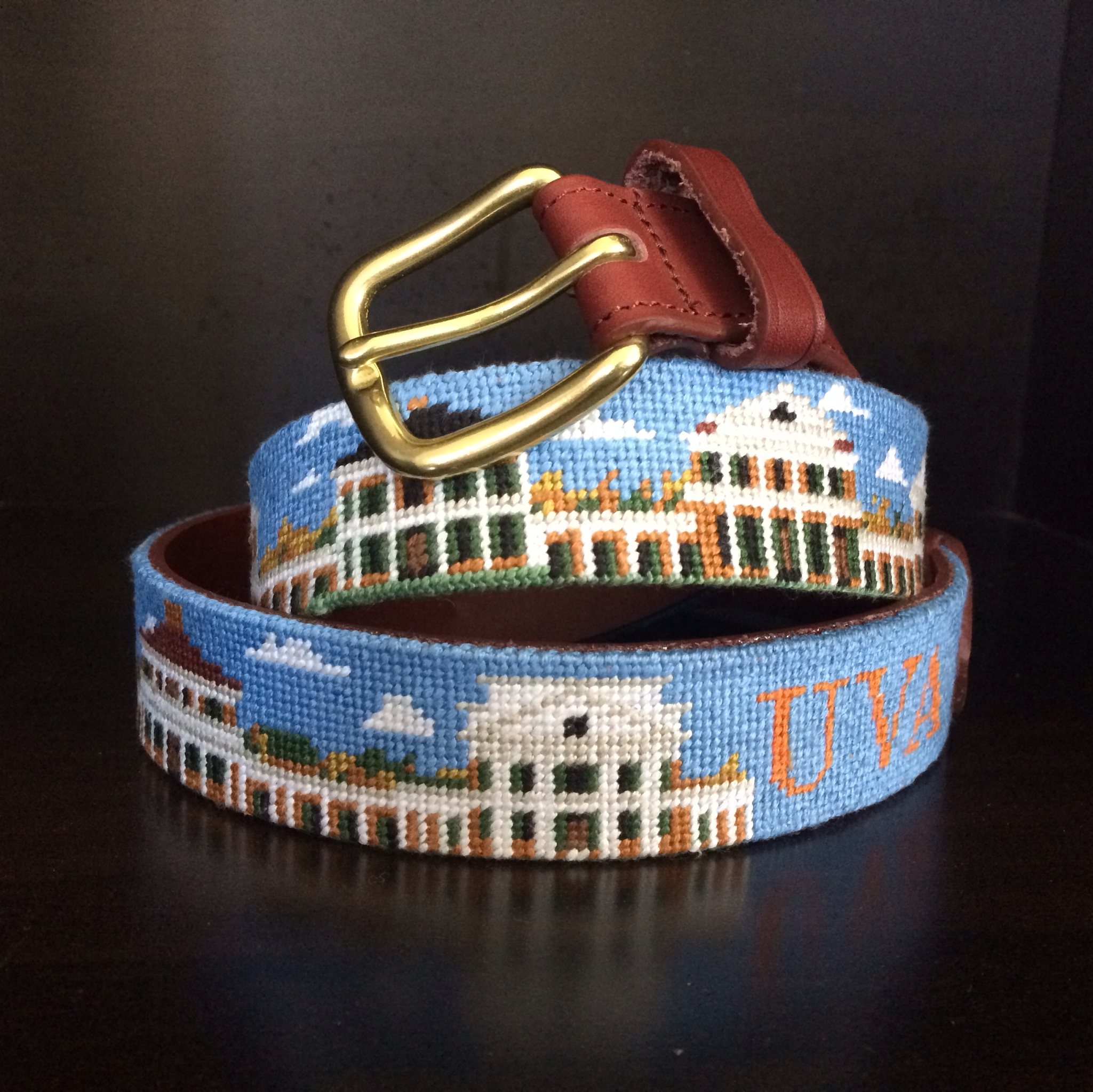 University of Virginia Academical Village Needlepoint Belt