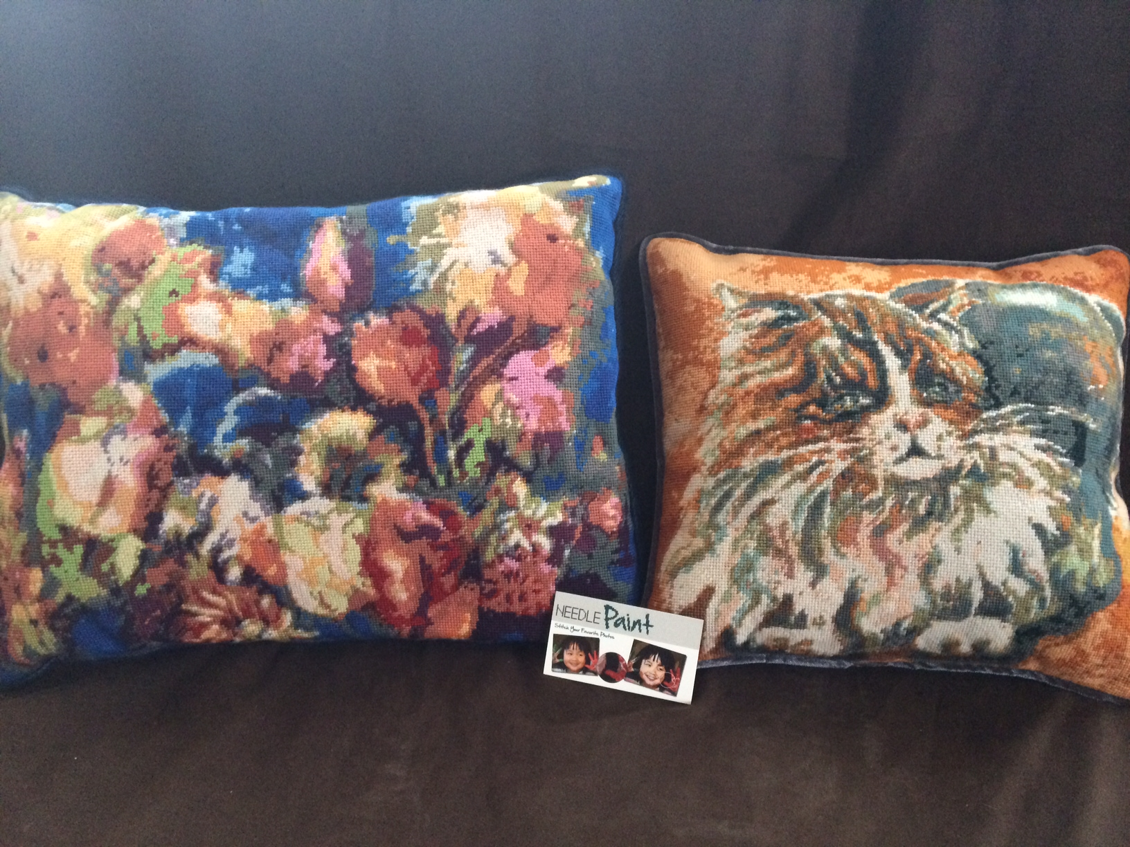 Custom Cat Needlepoint Pillow and Flower Needlepoint Pillow