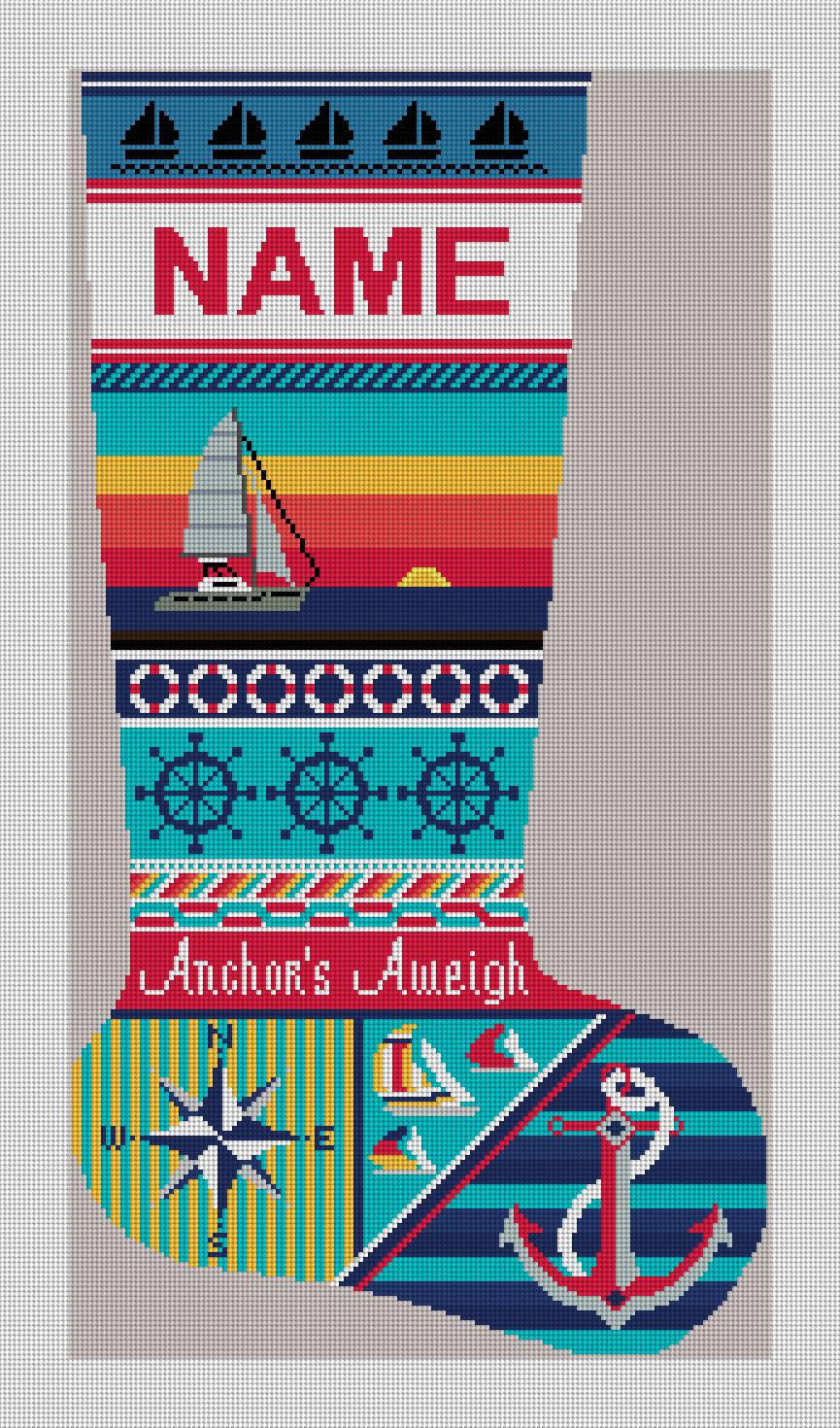 Anchors Aweigh Sailing Christmas Needlepoint Kit