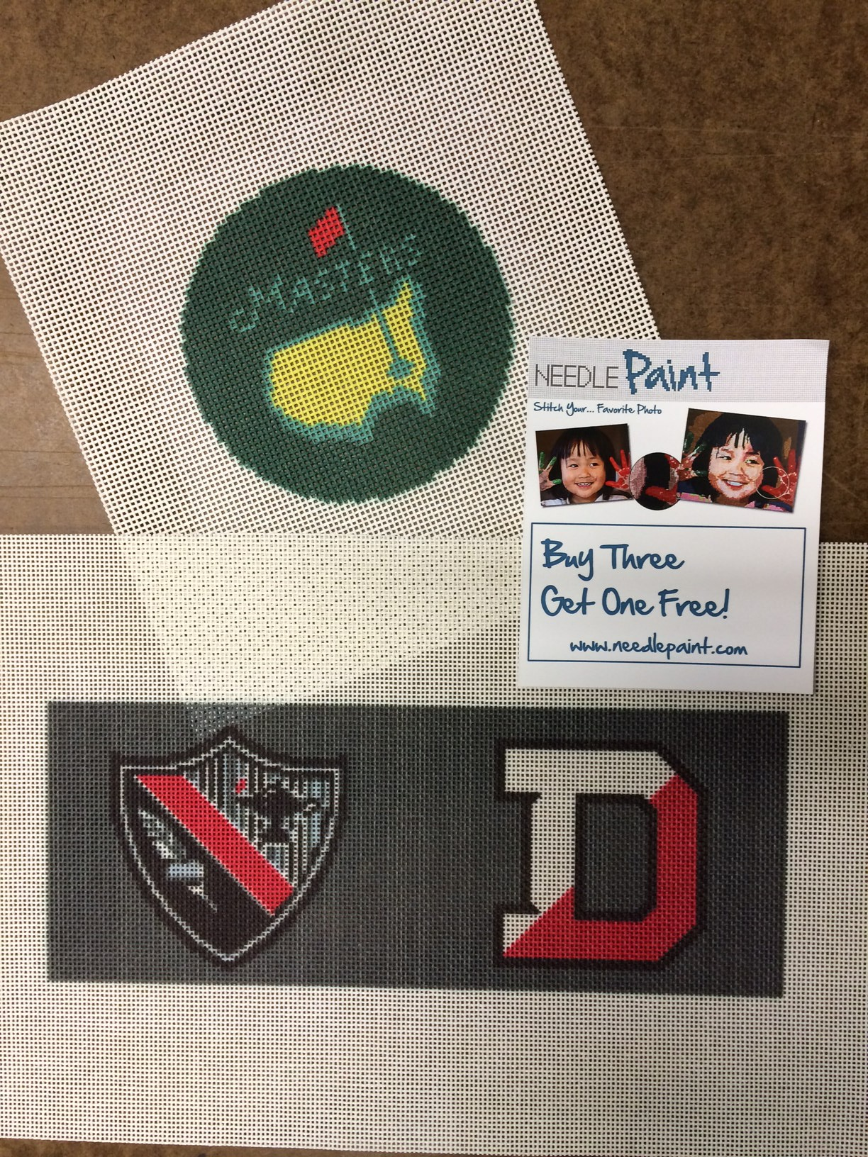 Custom Coaster and College Crest Needlepoint Canvas