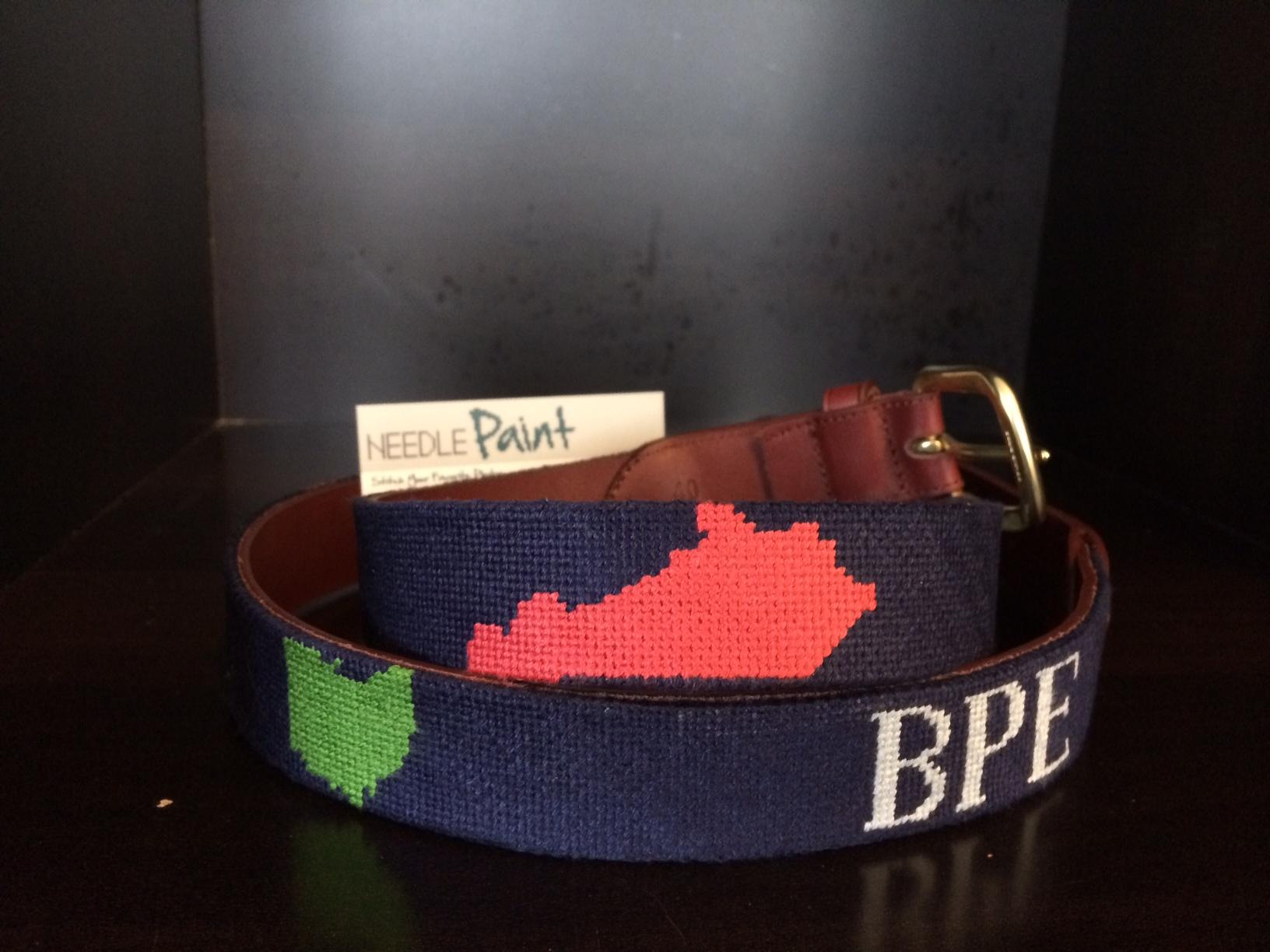 Custom State Outline Needlepoint Belt