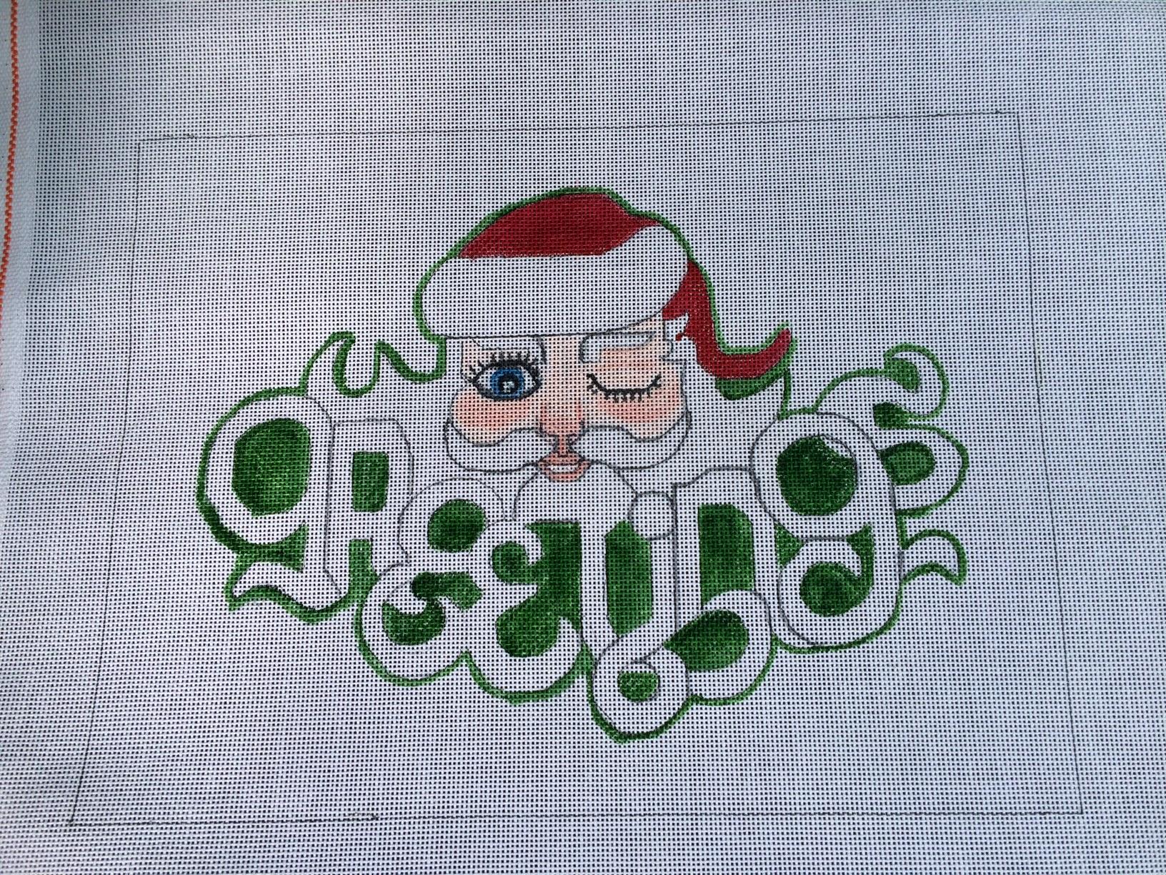 Greetings Santa HandPainted Needlepoint Canvas
