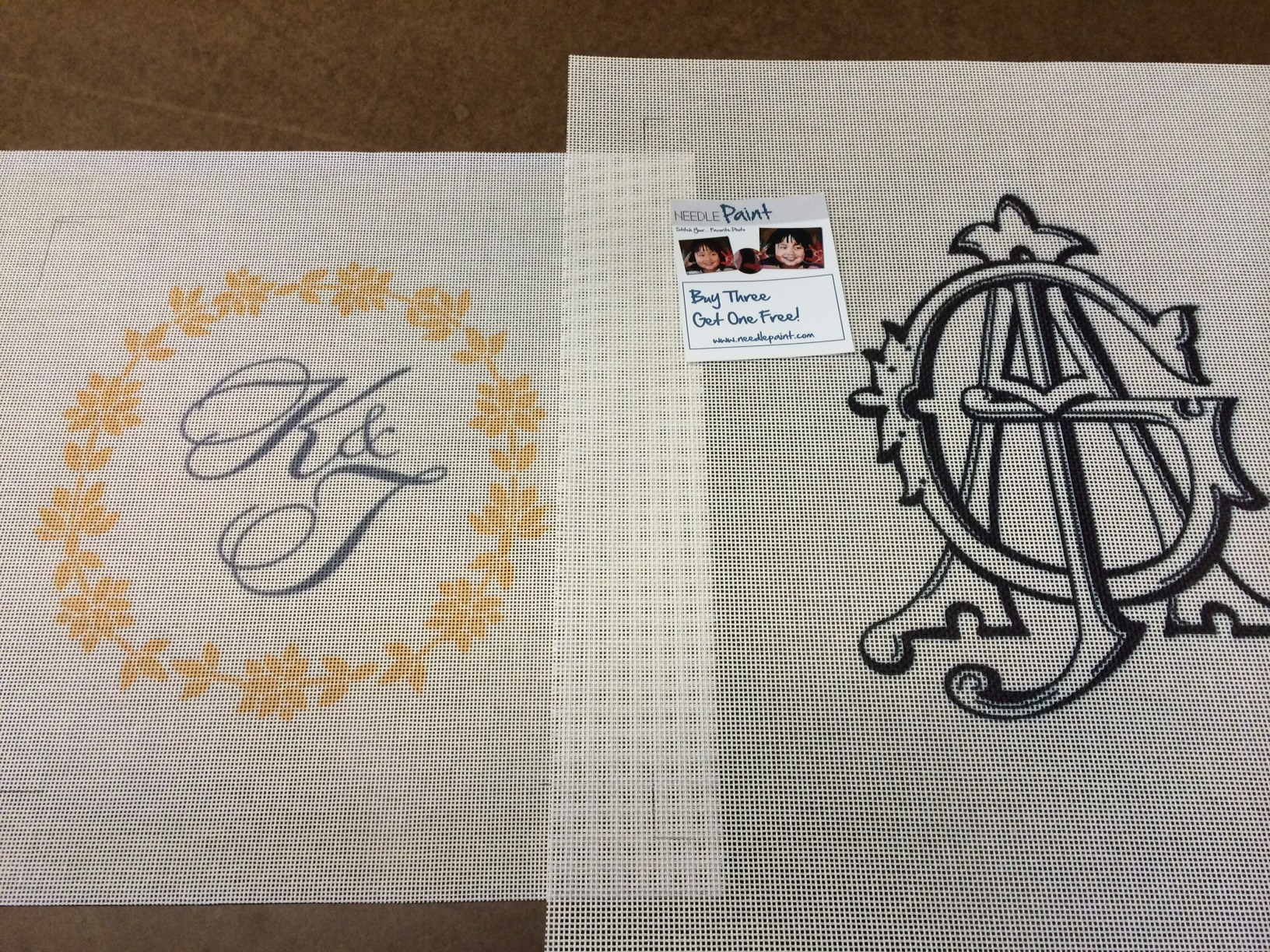 Monogram Needlepoint Pillow Canvases