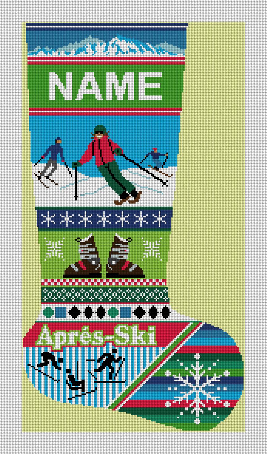 Winter Ski Christmas Stocking Needlepoint Kit
