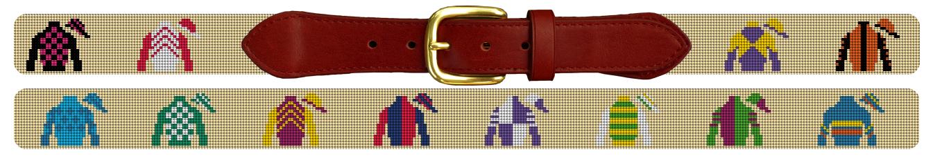 Jockey Silks Needlepoint Belt