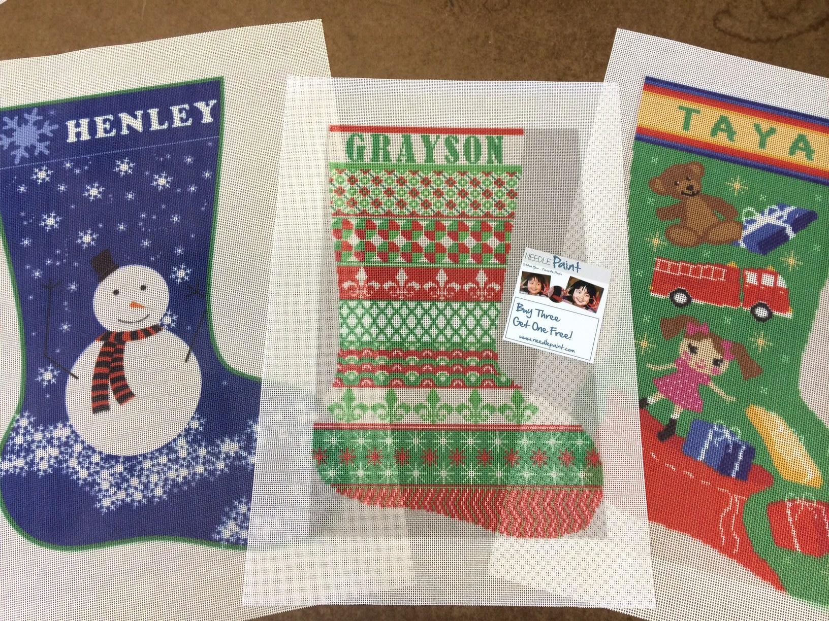 Sensational Personalized Needlepoint Christmas Stockings Needlepoint Kits Easy Diy Christmas Decorations Tissureus