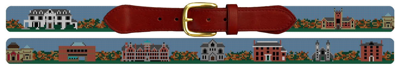 Bowdoin College Campus Needlepoint Belt