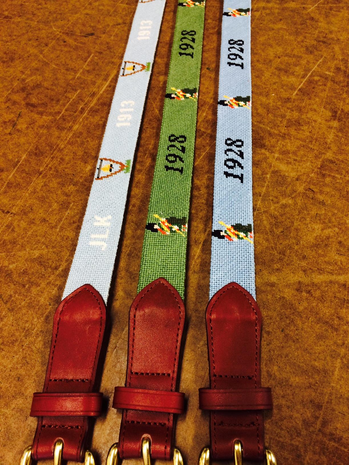 Golf Course Needlepoint Belts