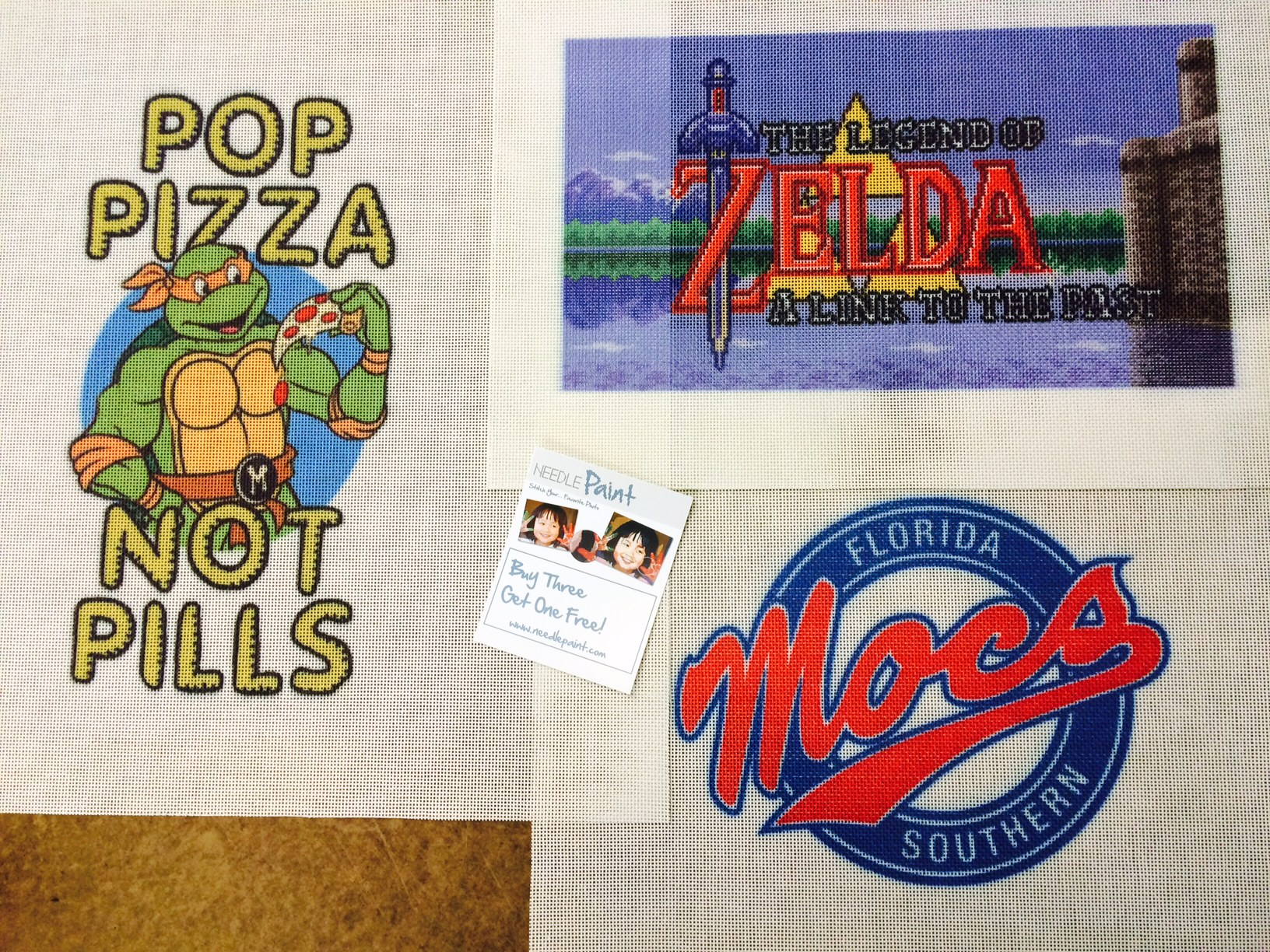 Ninja Turtles Legend of Zelda and Mocs Needlepoint