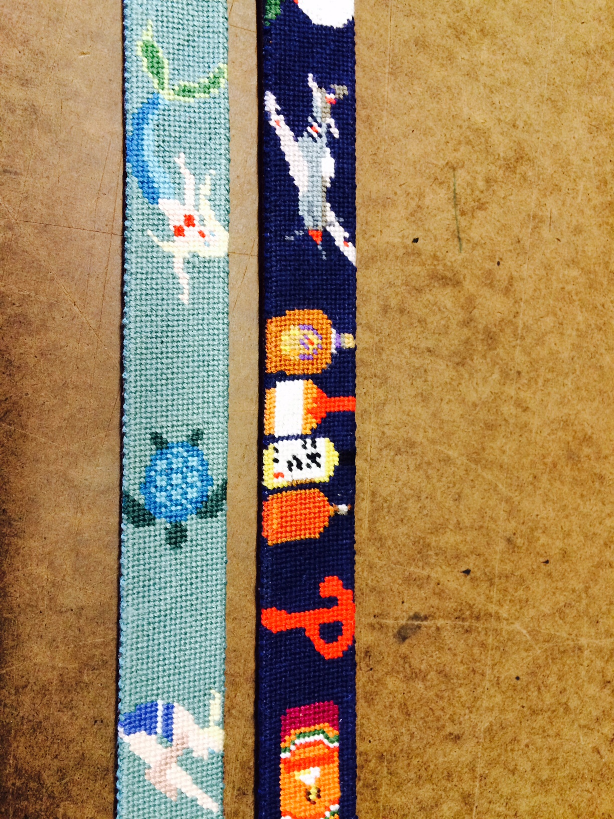 Swimming and Diving Belt and Close up Details of a Custom Needlepoint Belt