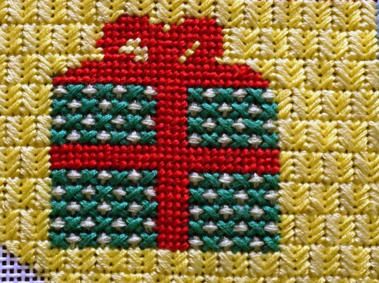 Close up of Present Needlepoint Stitches