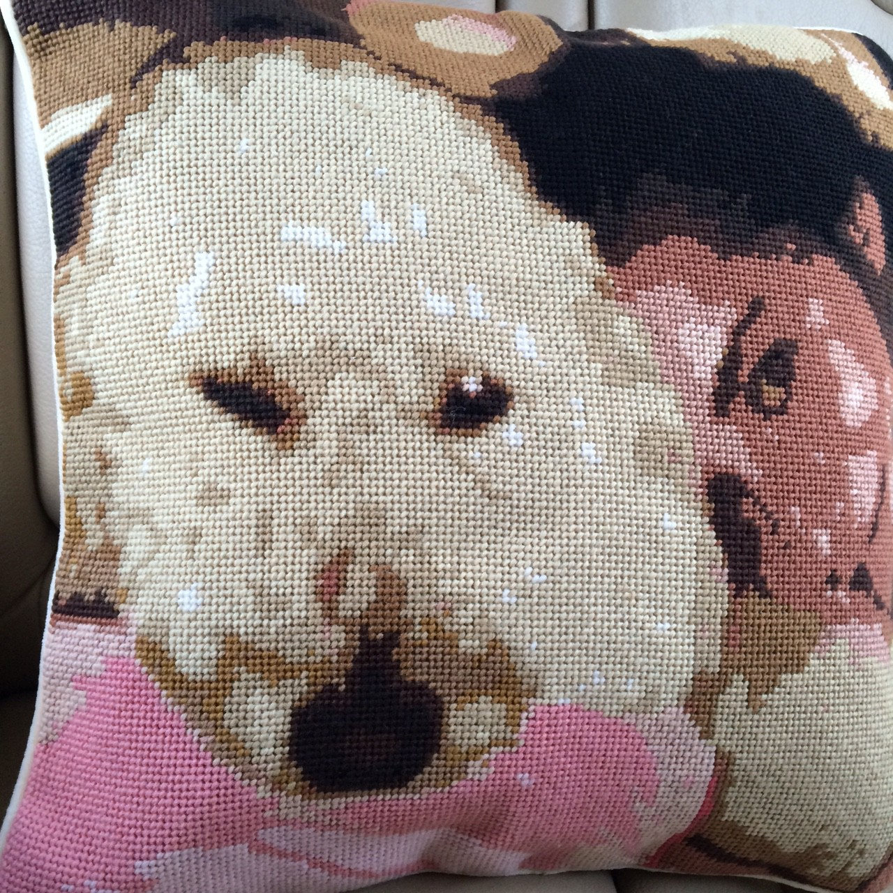 Custom Dog Needlepoint Pillow