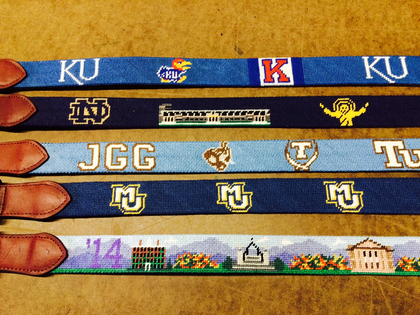Custom University Needlepoint Belts