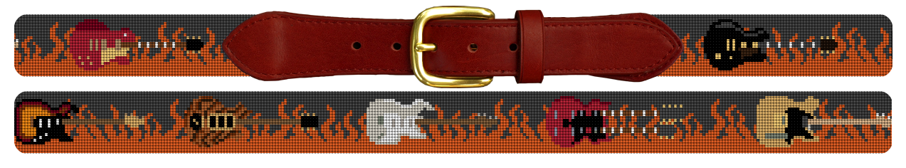 Rock and Roll Guitar Needlepoint Belt