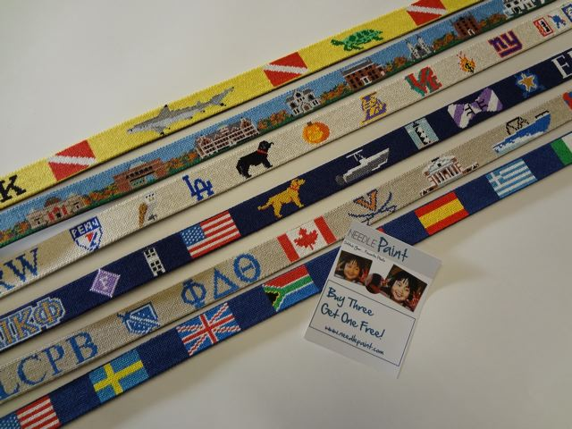 Scuba Diving, Country Flag, and Bowdoin College Needlepoint Belts