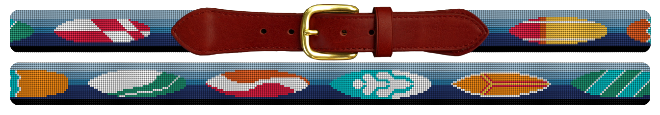 Surf Board Needlepoint Belt