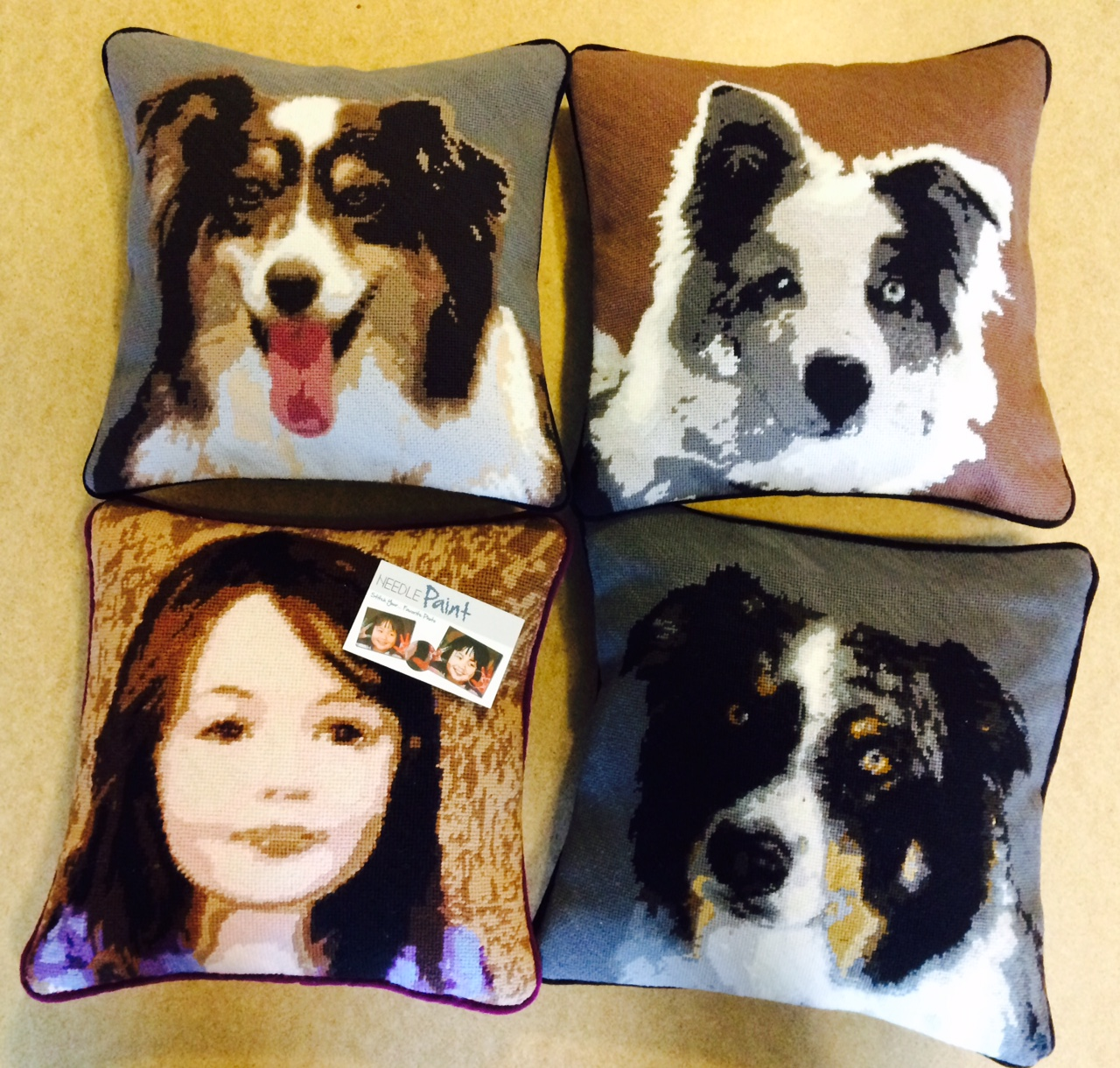 Cool Dog and Kid Needlepoint Pillows