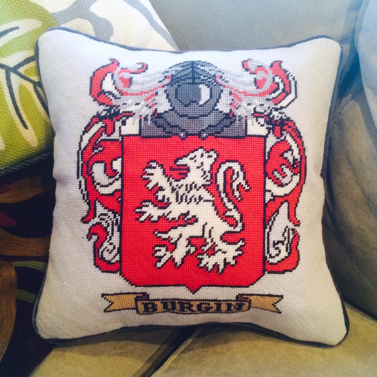 Custom Family Crest Needlepoint Pillow
