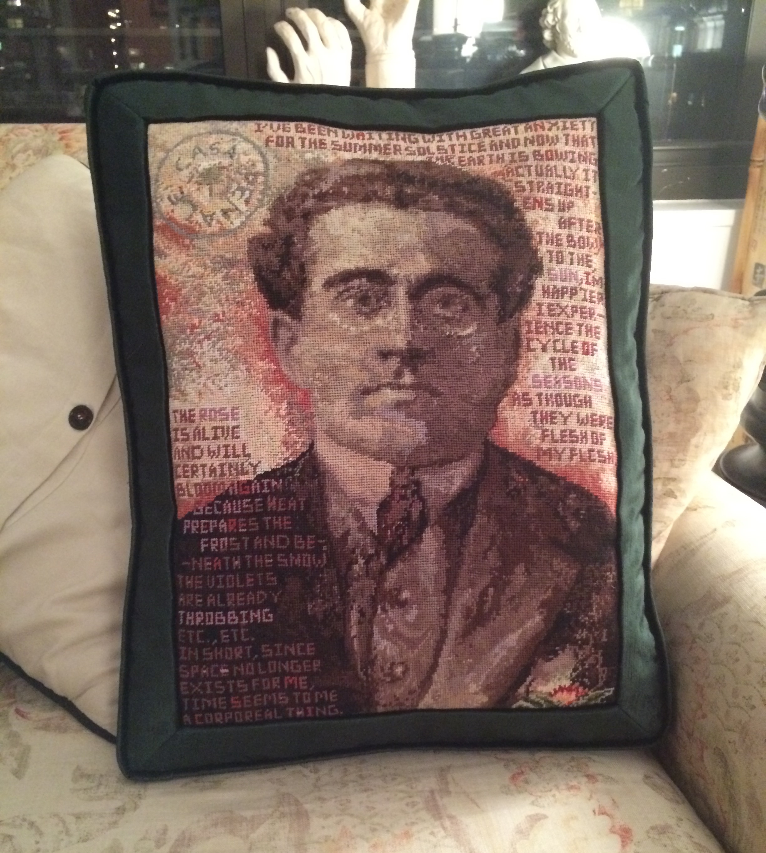 Needlepoint Antonio Gramsci Photo Pillow