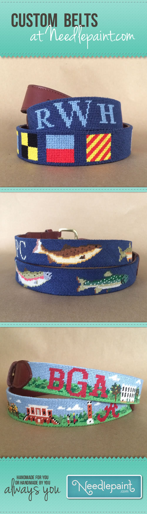 Custom Needlepoint Belts