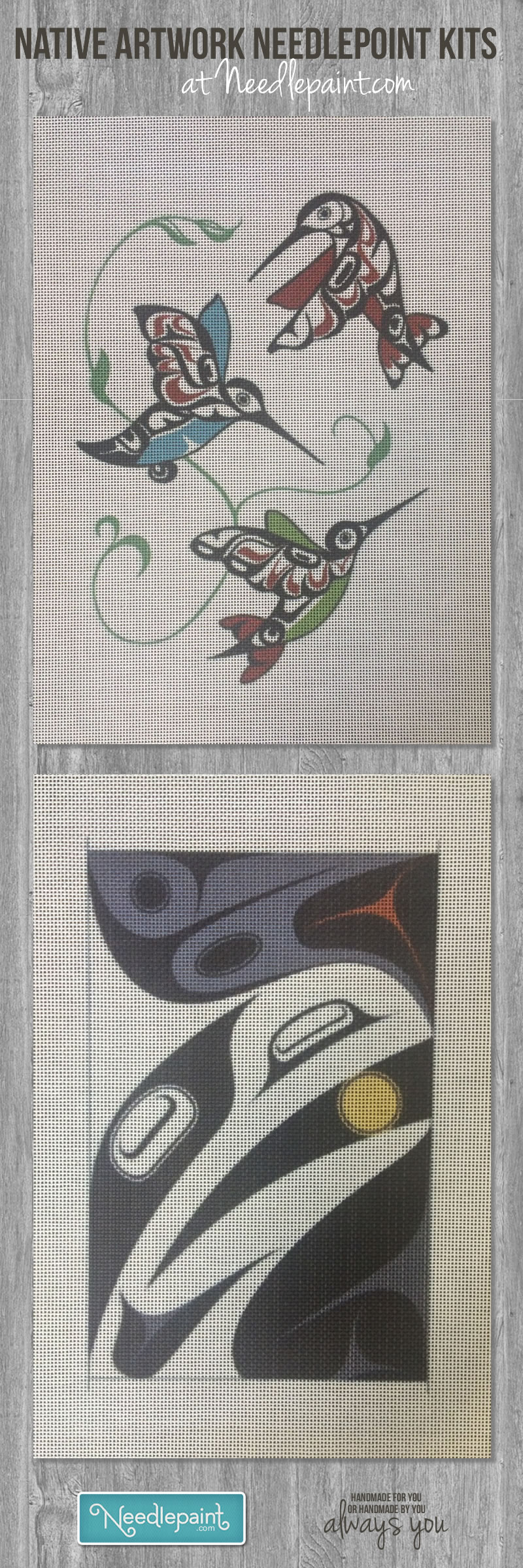 Custom Native American Artwork Needlepoint Canvases