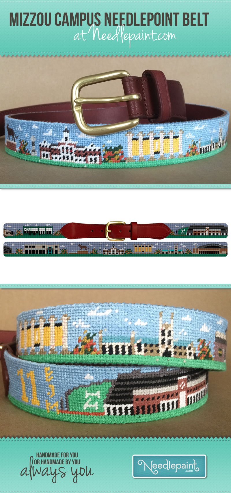 Mizzou Needlepoint Belt