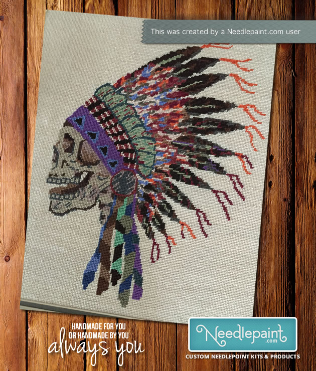 Needlepoint Native American Headdress