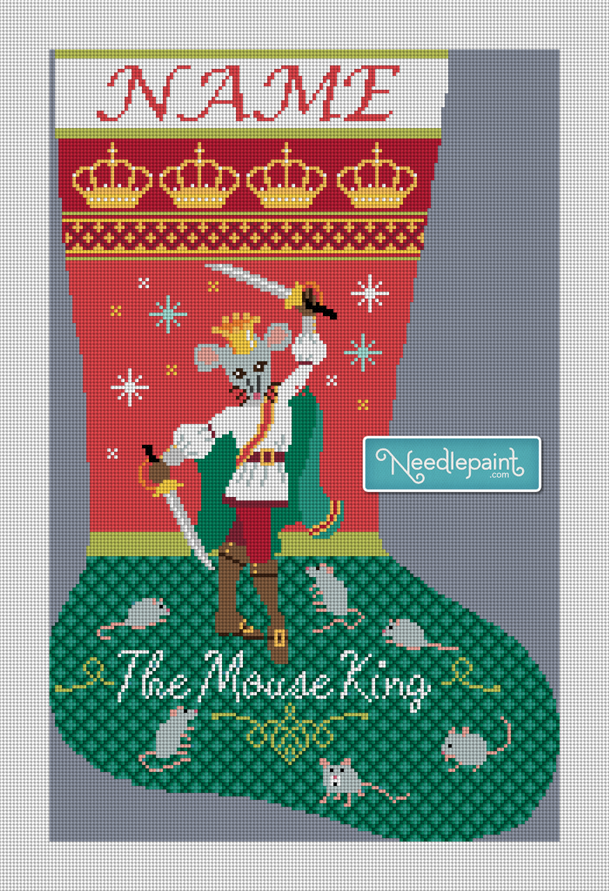 Nutcracker Mouse King Christmas Stocking Canvas
