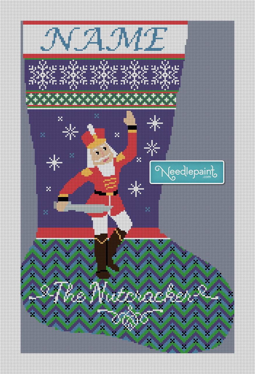 Nutcracker Prince Needlepoint Christmas Stocking