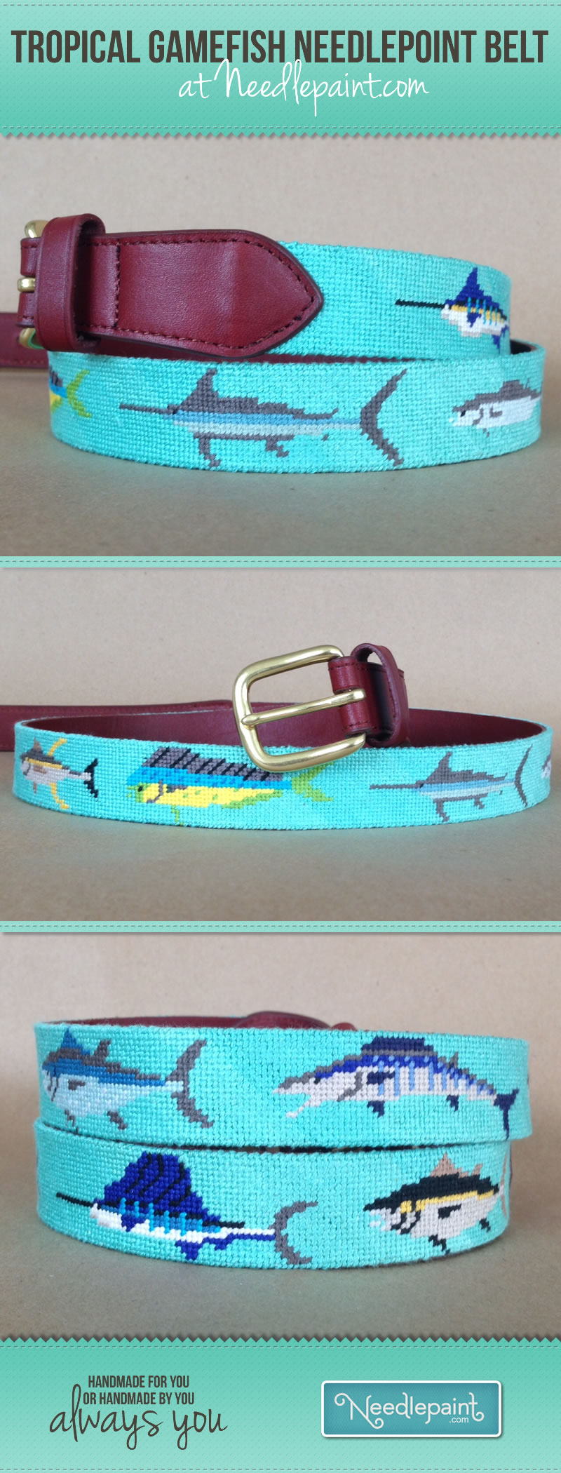 Tropical Gamefish Needlepoint Belt