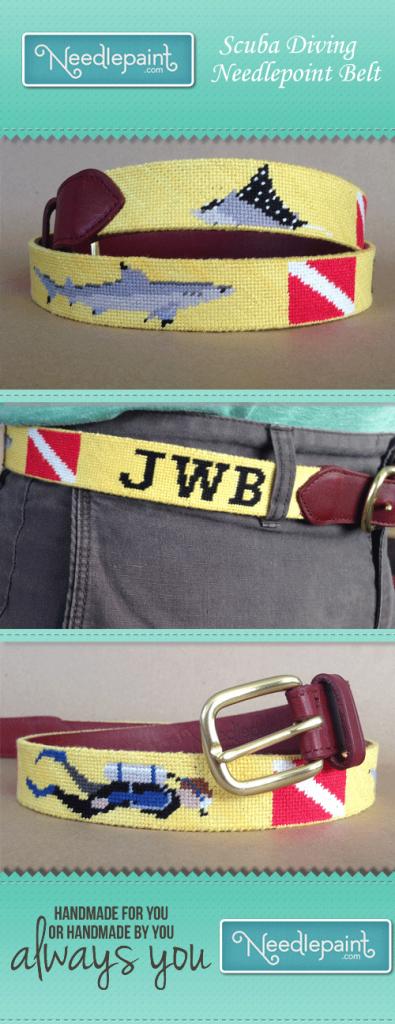 scuba diving needlepoint belt