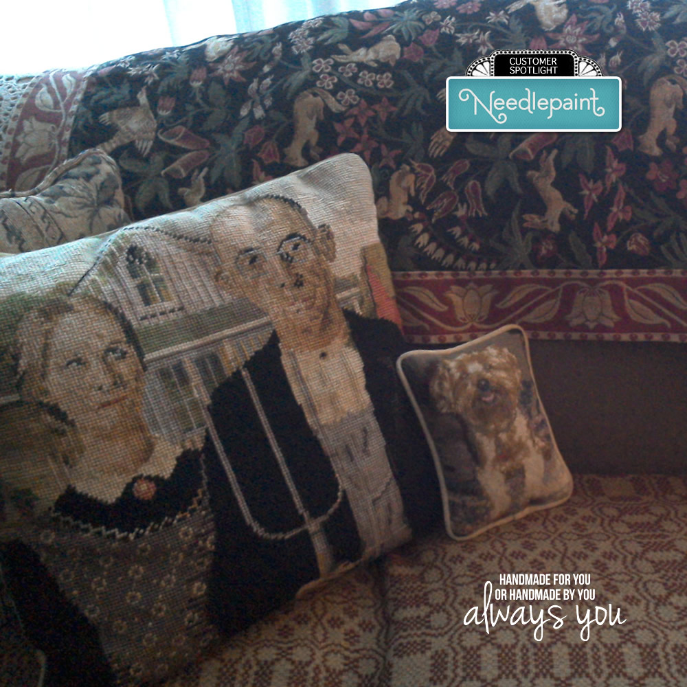 American Gothic Needlepoint Pillow next to a Custom Dog Needlepoint Pillow that we stitched