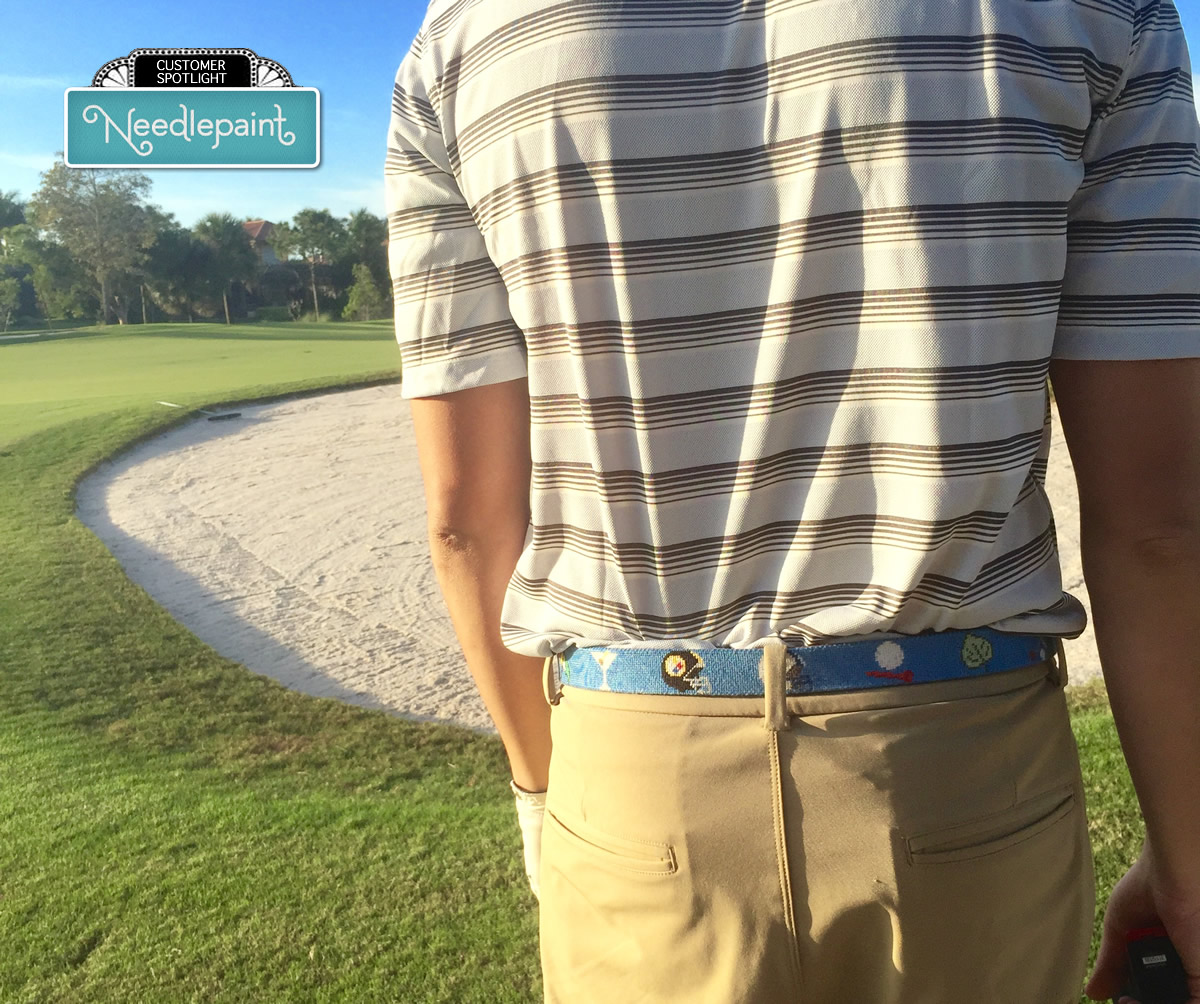 Golf Custom Needlepoint Belt