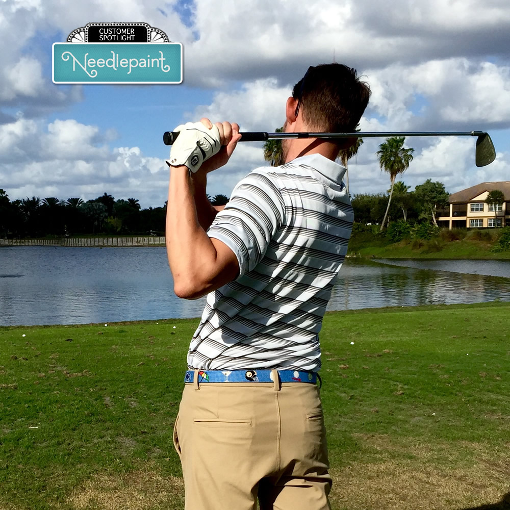 Golfing Needlepoint Belt